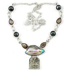 Natural grey meteorite moonstone titanium pearl 925 silver necklace k27367