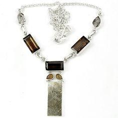 Grey meteorite herkimer diamond smoky topaz 925 silver necklace k27368