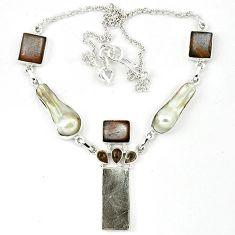 925 silver grey meteorite rainbow moonstone smoky topaz necklace jewelry k27369