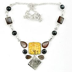 Grey meteorite titanium pearl moonstone 925 sterling silver necklace k27370