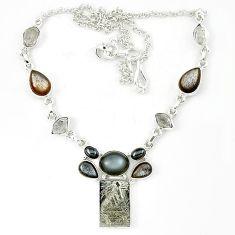Grey meteorite herkimer diamond moonstone 925 sterling silver necklace k27371
