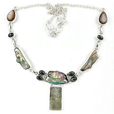 925 silver grey meteorite moonstone titanium pearl biwa pearl necklace k27372