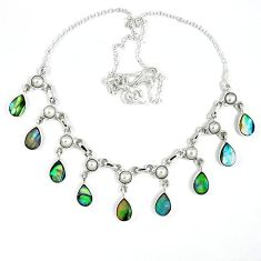 Natural green abalone paua seashell white pearl 925 silver necklace k30472