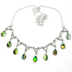 925 sterling silver natural green abalone paua seashell pearl necklace k30473