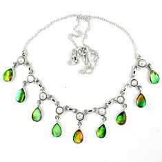 925 silver natural green abalone paua seashell pearl necklace jewelry k30474