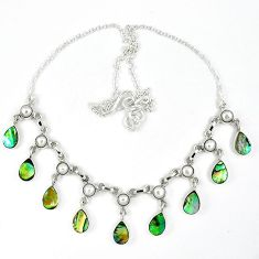 Natural green abalone paua seashell white pearl 925 silver necklace k30475