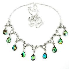 Natural green abalone paua seashell pearl 925 silver necklace jewelry k30476