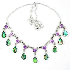 Natural green abalone paua seashell pear white pearl 925 silver necklace k30477
