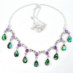 Natural green abalone paua seashell pearl 925 silver necklace jewelry k30479
