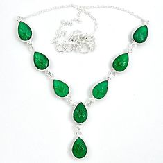 925 sterling silver natural green chalcedony pear shape necklace jewelry k34714