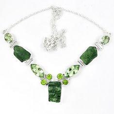 Natural green moldavite (genuine czech) peridot 925 silver necklace k40809