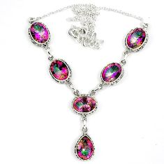 Multi color rainbow topaz 925 sterling silver necklace jewelry k41984