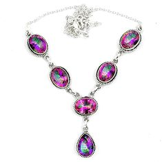 925 sterling silver multi color rainbow topaz oval necklace jewelry k41989