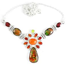 Natural ammolite (canadian) garnet peridot 925 sterling silver necklace k46881