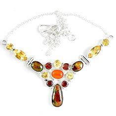 Natural ammolite (canadian) carnelian citrine garnet 925 silver necklace k46882