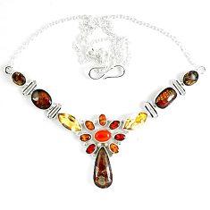 925 silver natural ammolite (canadian) garnet citrine carnelian necklace k46884