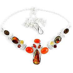 Natural ammolite (canadian) garnet citrine 925 sterling silver necklace k46885