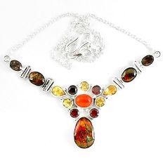 925 silver natural ammolite (canadian) garnet citrine necklace jewelry k46887