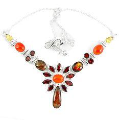 Natural ammolite (canadian) garnet citrine carnelian 925 silver necklace k46889