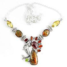 Natural ammolite (canadian) garnet peridot citrine 925 silver necklace k46892