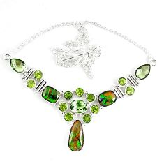 Natural ammolite (canadian) amethyst peridot 925 silver necklace jewelry k46894