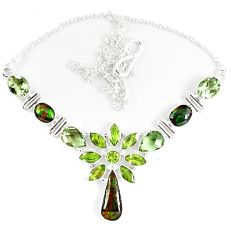 925 sterling silver natural ammolite (canadian) amethyst peridot necklace k46895