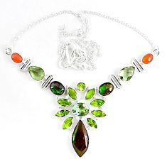 Natural ammolite (canadian) amethyst peridot 925 silver necklace jewelry k46896