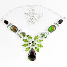Natural ammolite (canadian) green amethyst peridot 925 silver necklace k46898