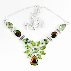 925 silver natural ammolite (canadian) green amethyst peridot necklace k46900