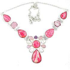 Natural pink rhodochrosite inca rose (argentina) 925 silver necklace k47062