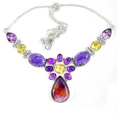 Cacoxenite super seven (melody stone) charoite 925 silver necklace k47066