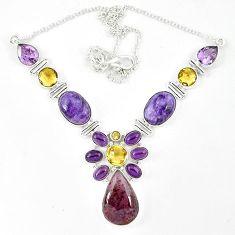 Cacoxenite super seven (melody stone) charoite 925 silver necklace k47069