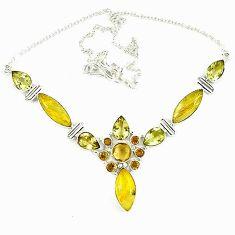 Natural golden tourmaline rutile topaz 925 sterling silver necklace k47084