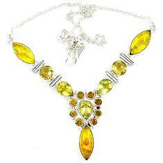 Natural golden tourmaline rutile topaz 925 sterling silver necklace k47085
