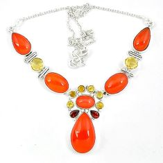 Natural orange cornelian (carnelian) red garnet 925 silver necklace k47086
