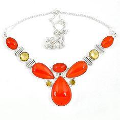 925 silver natural orange cornelian (carnelian) yellow citrine necklace k47087