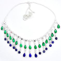 Natural green emerald blue sapphire 925 sterling silver necklace k47781
