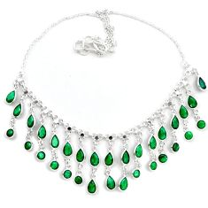 Natural green emerald 925 sterling silver necklace jewelry k47791