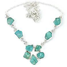 Natural aqua aquamarine rough 925 sterling silver necklace jewelry k48881