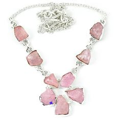Natural pink morganite rough 925 sterling silver necklace jewelry k48882
