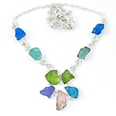 925 sterling silver blue apatite rough peridot rough necklace jewelry k48883