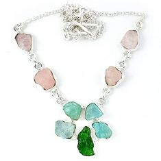 Green chrome diopside rough druzy 925 silver necklace jewelry k48885