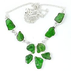 Green chrome diopside rough druzy 925 sterling silver necklace jewelry k48887