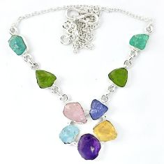 925 silver natural green peridot rough amethyst rough necklace jewelry k48888