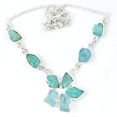 Natural aqua aquamarine rough 925 sterling silver necklace jewelry k48889