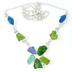 Green chrome diopside rough druzy aquamarine rough 925 silver necklace k48890