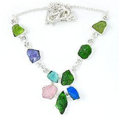 Green chrome diopside rough druzy aquamarine rough 925 silver necklace k48892
