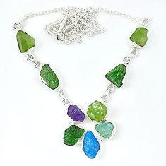 925 sterling silver natural green peridot rough apatite rough necklace k48893