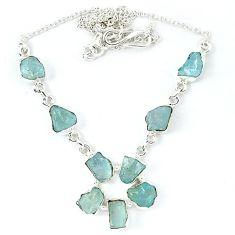 Natural aqua aquamarine rough 925 sterling silver necklace jewelry k48895