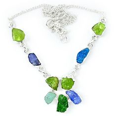 925 silver natural green peridot rough aquamarine rough necklace k48896